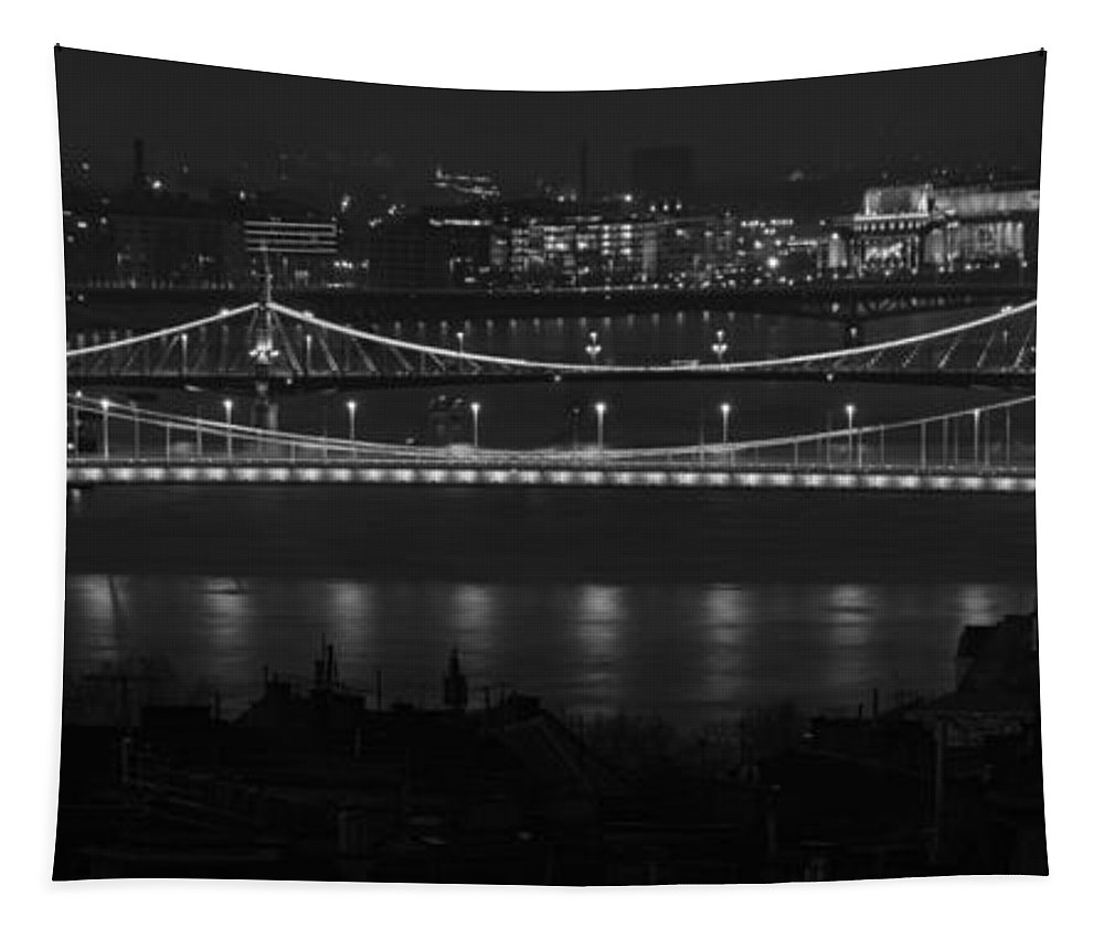 Joan Carroll Tapestry featuring the photograph Elizabeth And Liberty Bridges Budapest Bw by Joan Carroll