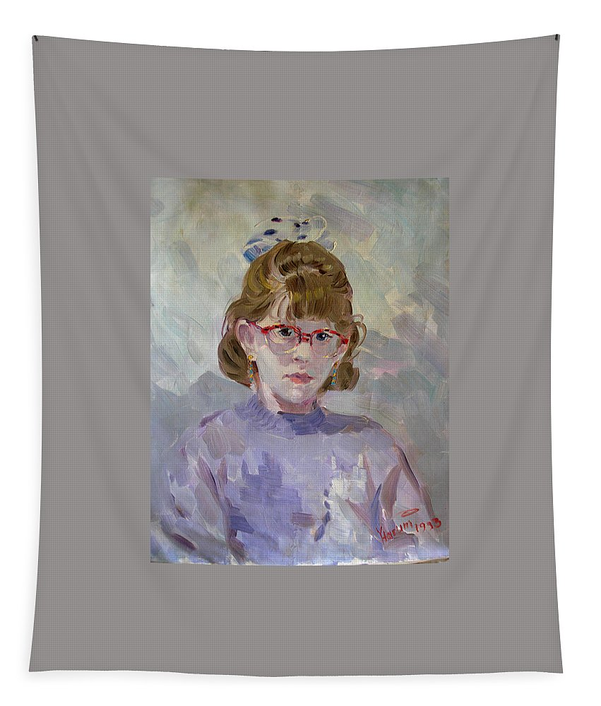 Portrait Tapestry featuring the painting Elona by Ylli Haruni