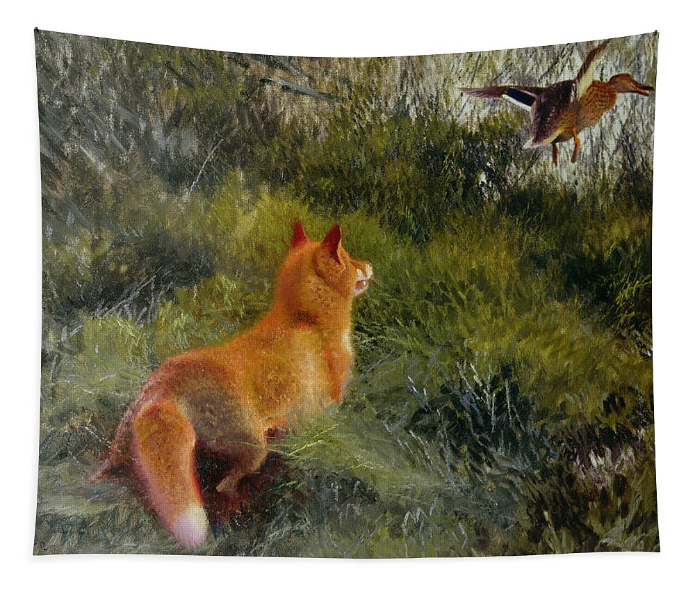 Eluding The Fox Tapestry featuring the painting Eluding The Fox by Bruno Andreas Liljefors