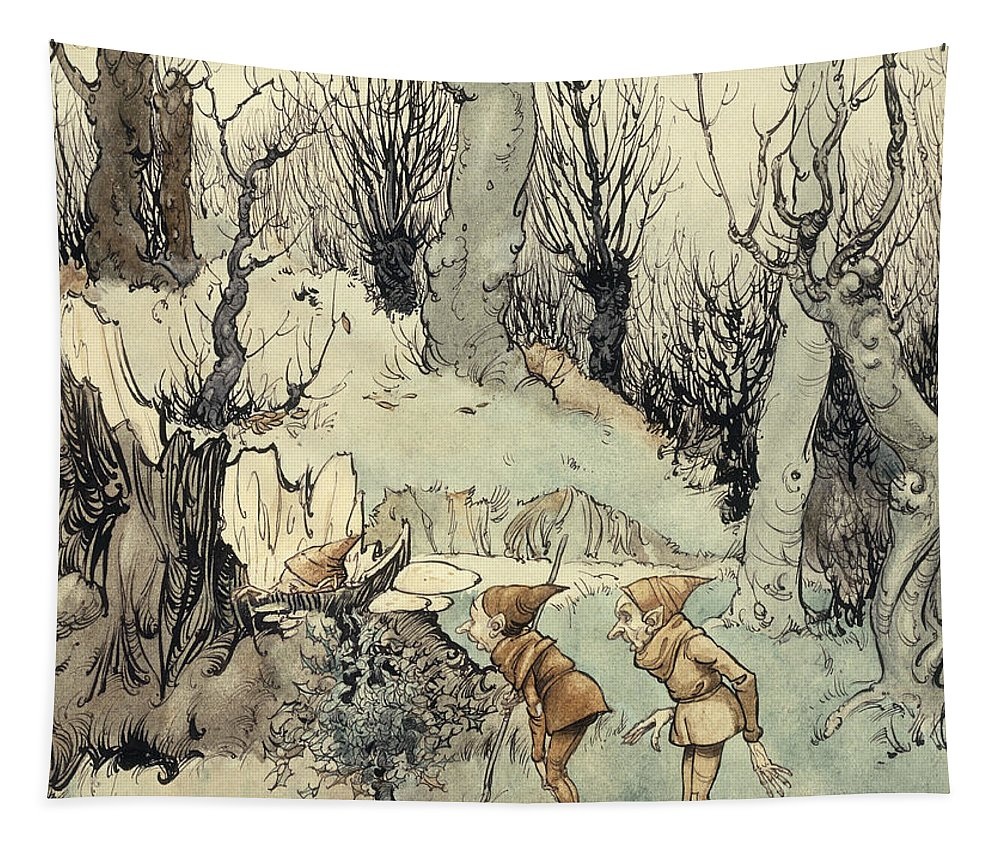 Arthur Tapestry featuring the painting Elves In A Wood by Arthur Rackham