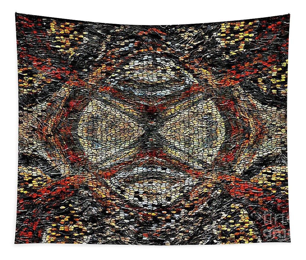 Mosaic Tapestry featuring the mixed media Embellished Texture by Jolanta Anna Karolska
