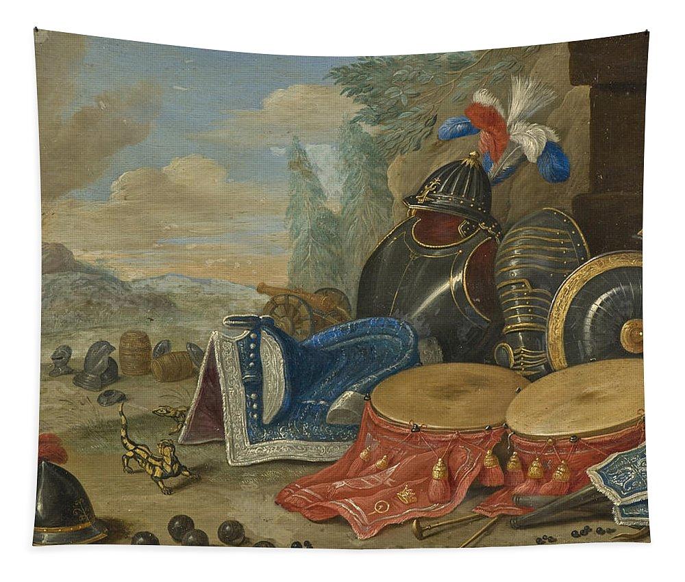 Jan Van Kessel The Elder Tapestry featuring the painting Emblems Of War by Jan van Kessel the Elder