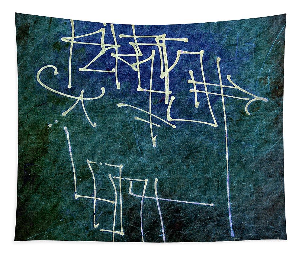 Mona Stut Tapestry featuring the digital art Emerald Green Wall Street Art by Mona Stut