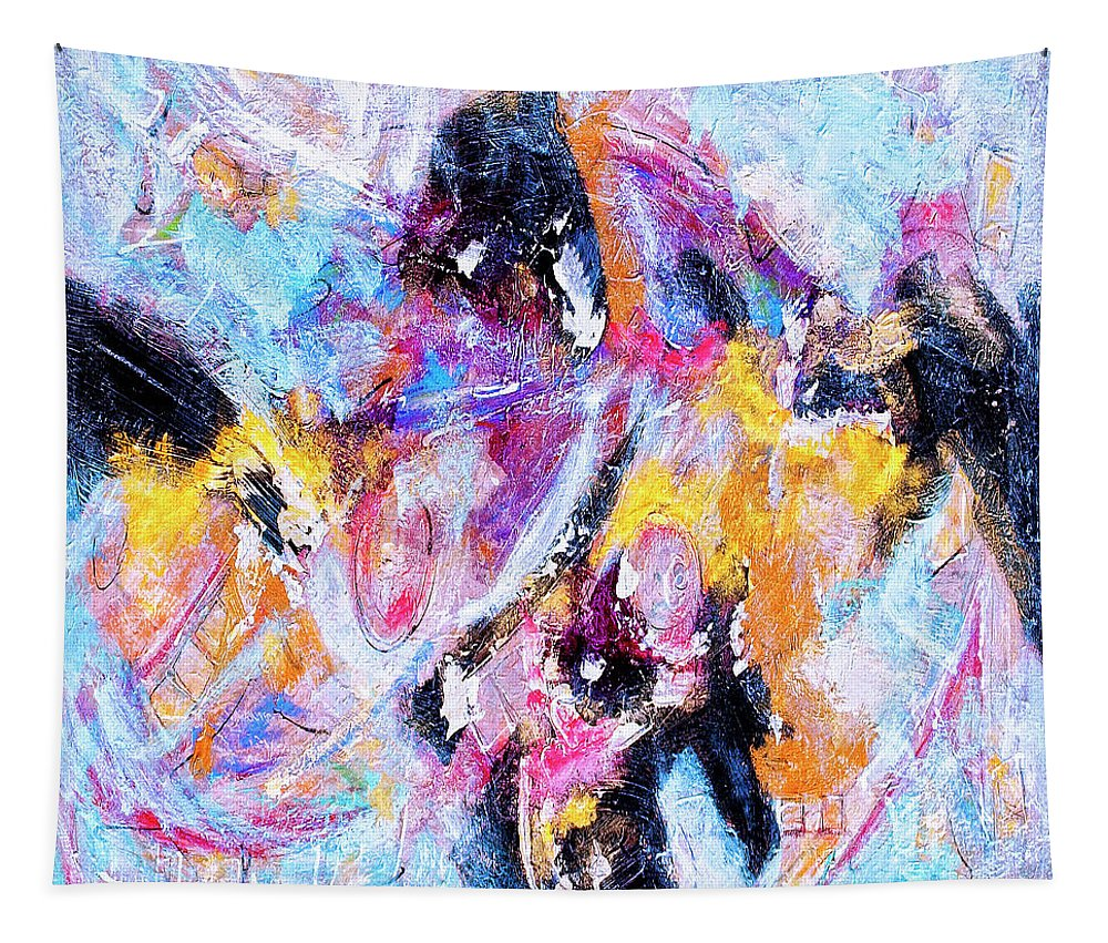 Abstract Tapestry featuring the painting Emergent by Dominic Piperata