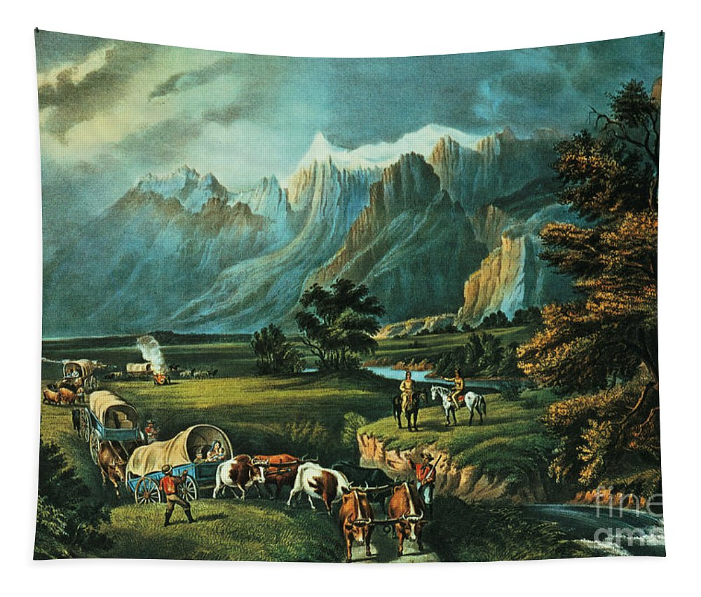 Bal1409 Tapestry featuring the painting Emigrants Crossing The Plains by Currier and Ives