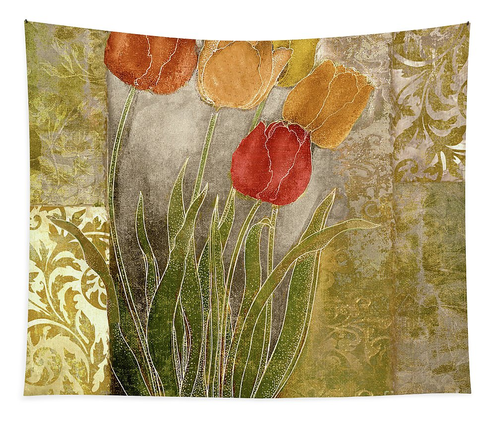 Red Tulips Tapestry featuring the painting Emily Damask Tulips IIi by Mindy Sommers