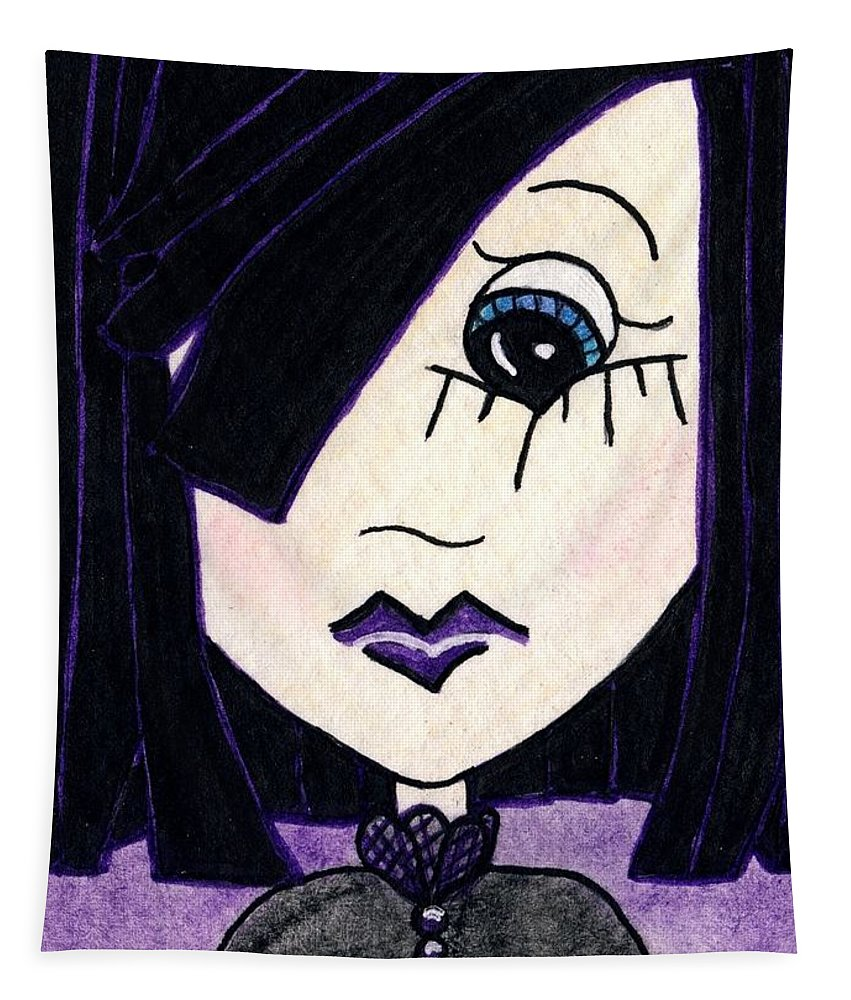 Emo Tapestry featuring the painting Emo Girl Iv by Tambra Wilcox