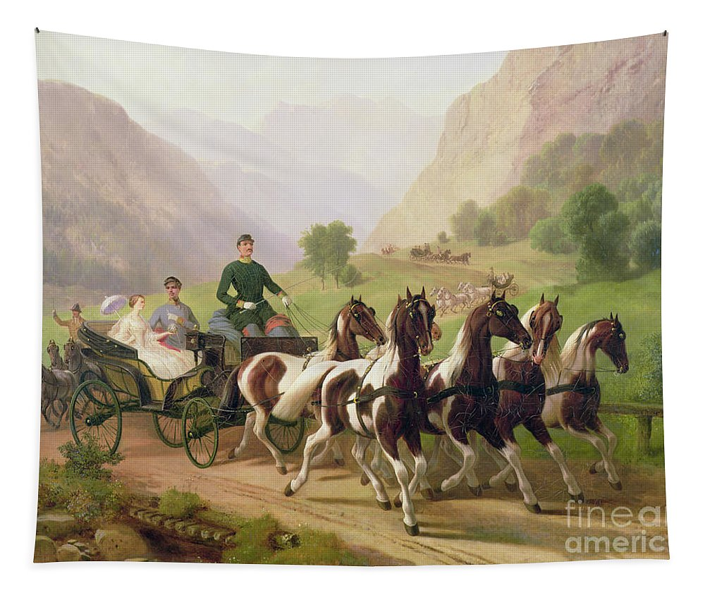 Emperor Tapestry featuring the painting Emperor Franz Joseph I Of Austria Being Driven In His Carriage With His Wife Elizabeth Of Bavaria I by Austrian School