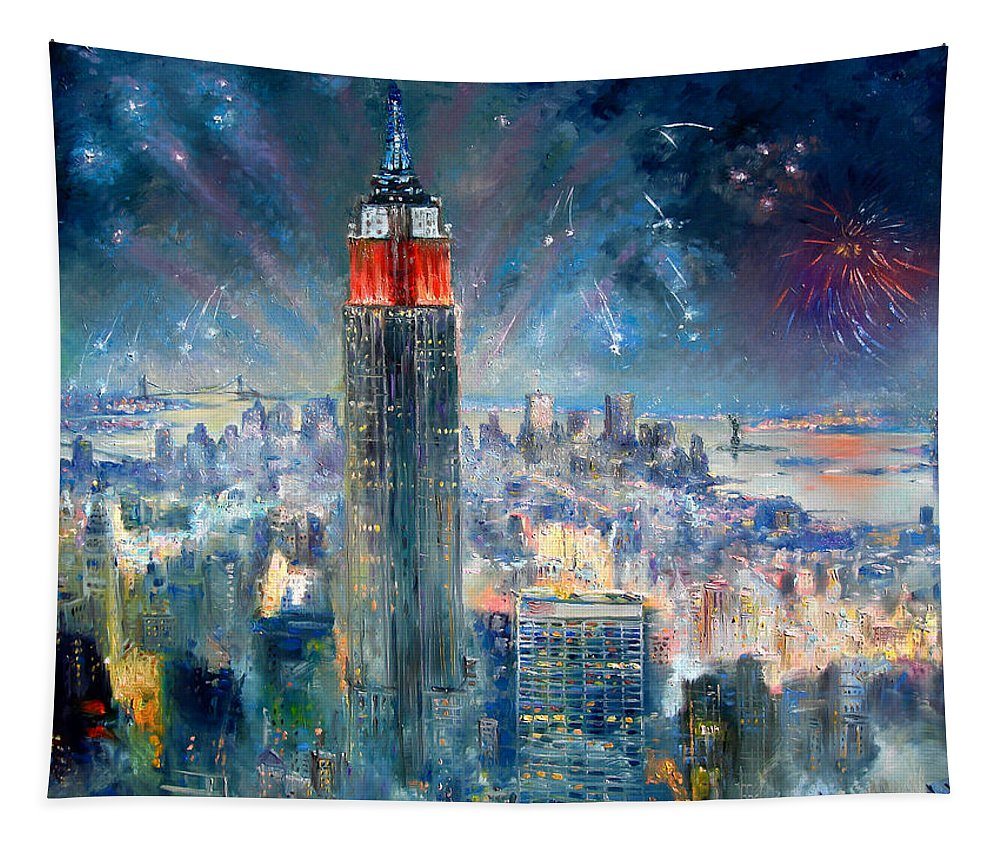 Empire State Building Tapestry featuring the painting Empire State Building In 4th Of July by Ylli Haruni