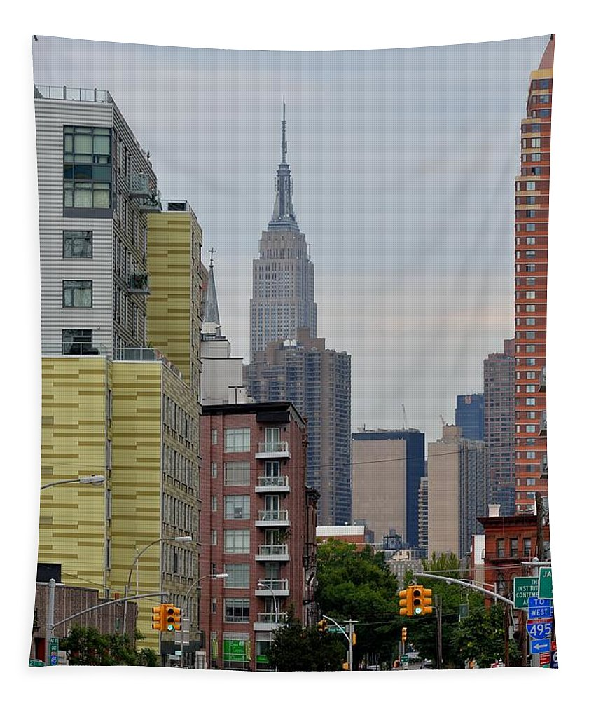 Empire State Building Tapestry featuring the photograph Empire State Empty Street by Kurt Von Dietsch