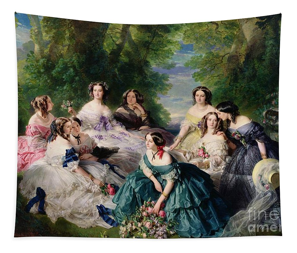 Empress Tapestry featuring the painting Empress Eugenie Surrounded By Her Ladies In Waiting by Franz Xaver Winterhalter
