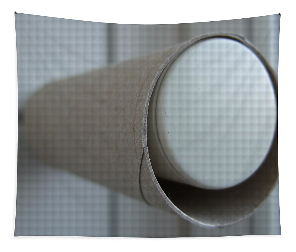 Toilet Paper Tapestry featuring the photograph Empty Toilet Paper Roll by Matthias Hauser