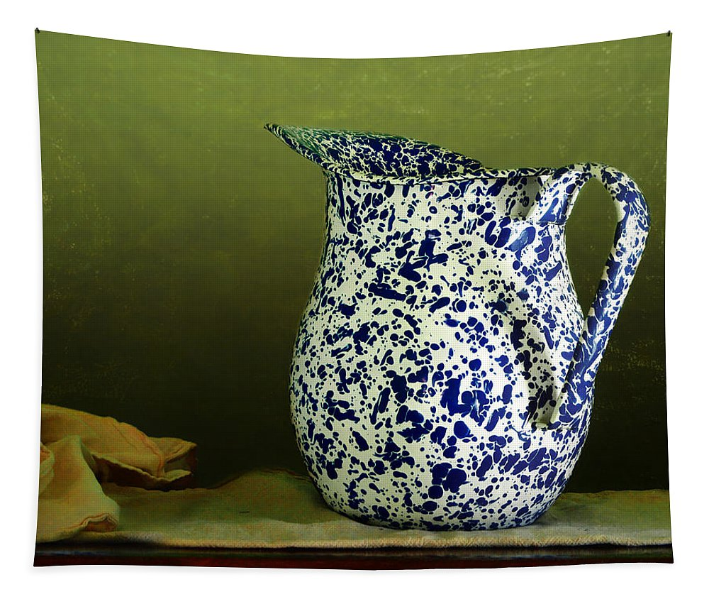 Enamelware Tapestry featuring the photograph Enamelware - Pitcher by Nikolyn McDonald