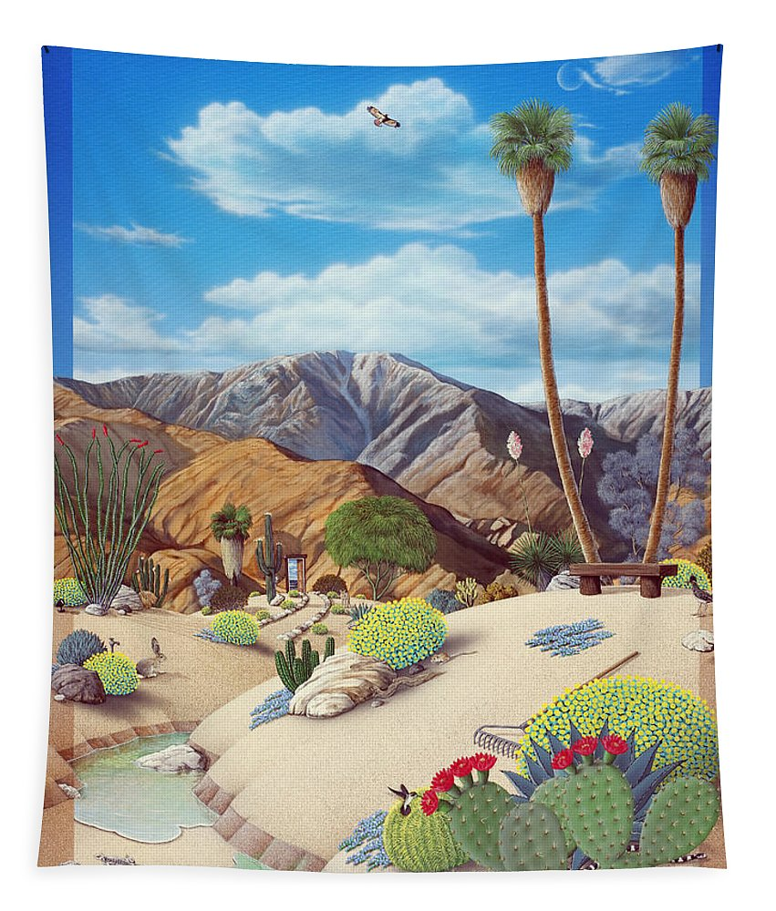 Desert Tapestry featuring the painting Enchanted Desert by Snake Jagger