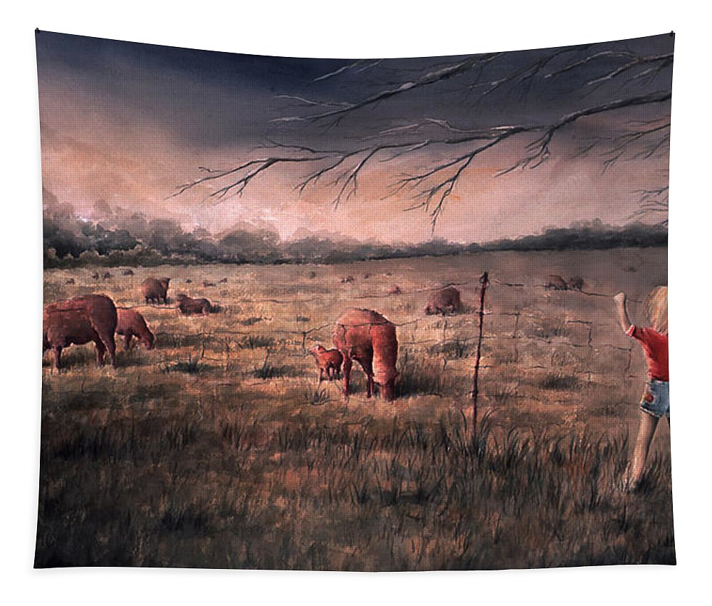 Landscape Tapestry featuring the painting A childhood by William Russell Nowicki