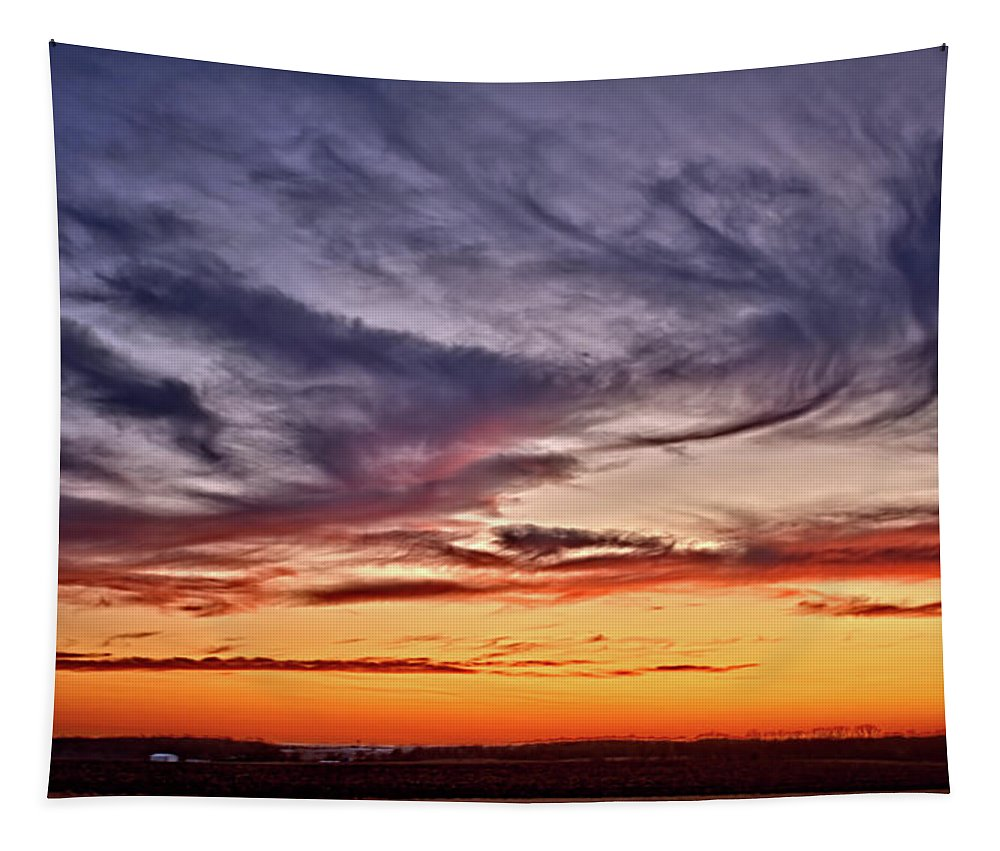 Sunset Tapestry featuring the photograph End Of The Day by Bonfire Photography