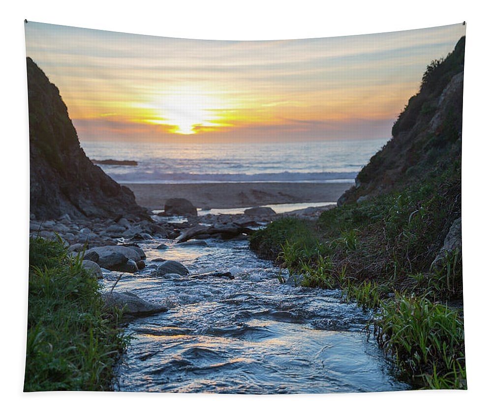 Tapestry featuring the photograph End Of The Road - Creek Runs Into Pacific Ocean At Big Sur by Southern Plains Photography