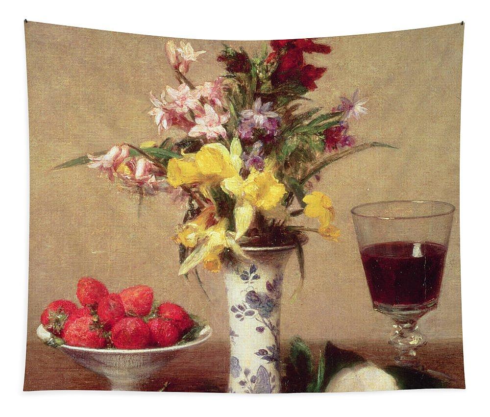 Engagement Bouquet Tapestry featuring the painting Engagement Bouquet by Ignace Henri Jean Fantin-Latour