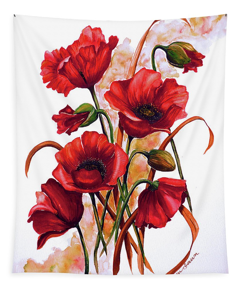 Red Poppies Paintings Floral Paintings Botanical Paintings Flower Paintings Poppy Paintings Field Poppy Painting Greeting Card Paintings Poster Print Painting Canvas Print Painting  Tapestry featuring the painting English Poppies 2 by Karin Dawn Kelshall- Best