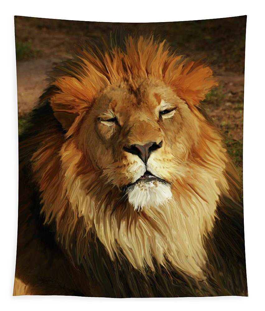 Lion Tapestry featuring the photograph Enjoying The Day by Laurel Powell