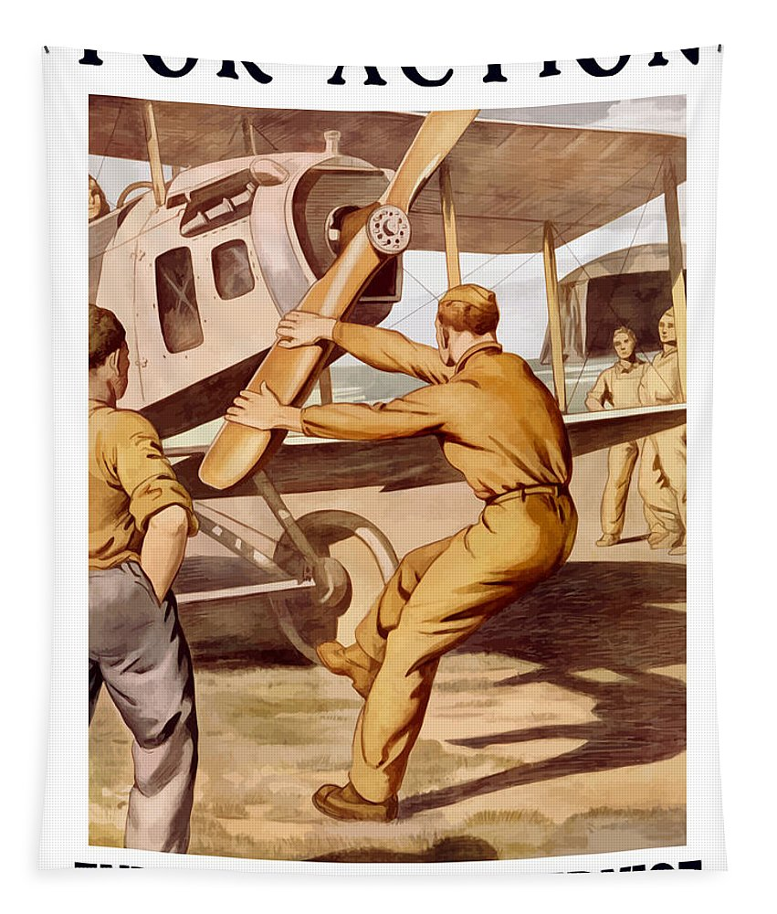Air Force Tapestry featuring the painting Enlist In The Air Service by War Is Hell Store