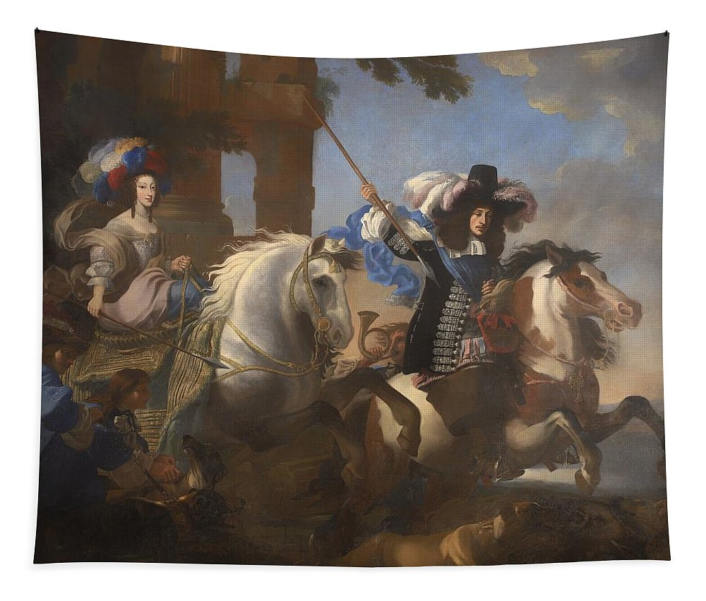 Painting Tapestry featuring the painting Enrichetta Adelaide Di Savoia E Ferdinando Di Baviera by Mountain Dreams