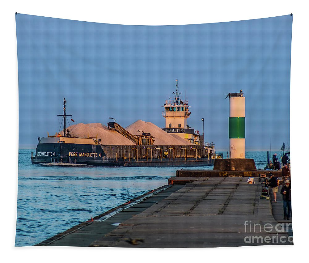 Grand Haven Tapestry featuring the photograph Entering Grand Haven by Nick Zelinsky