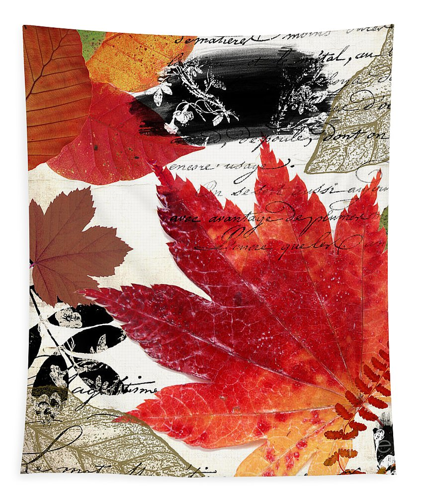 Leaves Tapestry featuring the painting Equinox II by Mindy Sommers
