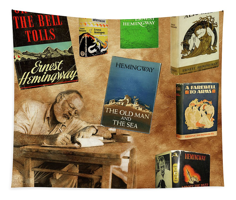 Ernest Hemingway Tapestry featuring the photograph Ernest Hemingway Books 2 by Andrew Fare