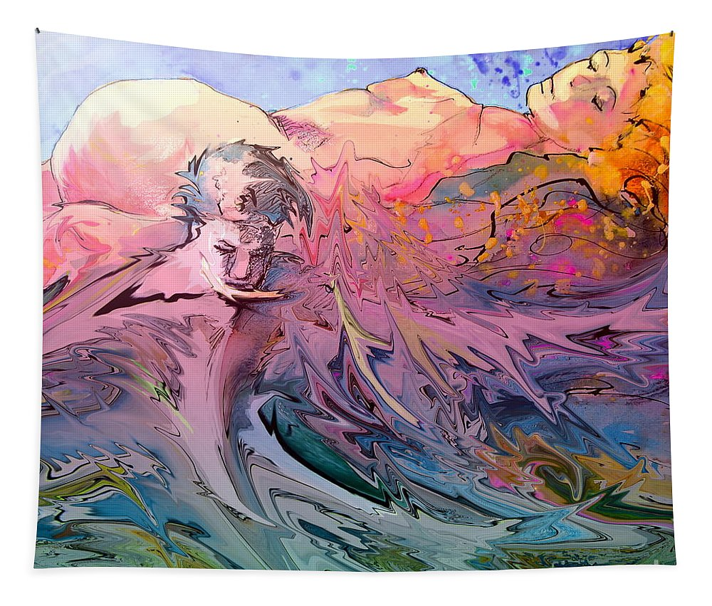 Miki Tapestry featuring the painting Eroscape 10 by Miki De Goodaboom