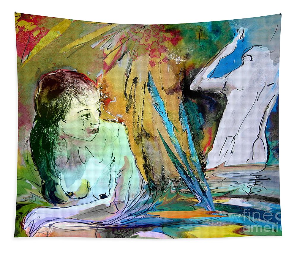 Miki Tapestry featuring the painting Eroscape 15 1 by Miki De Goodaboom