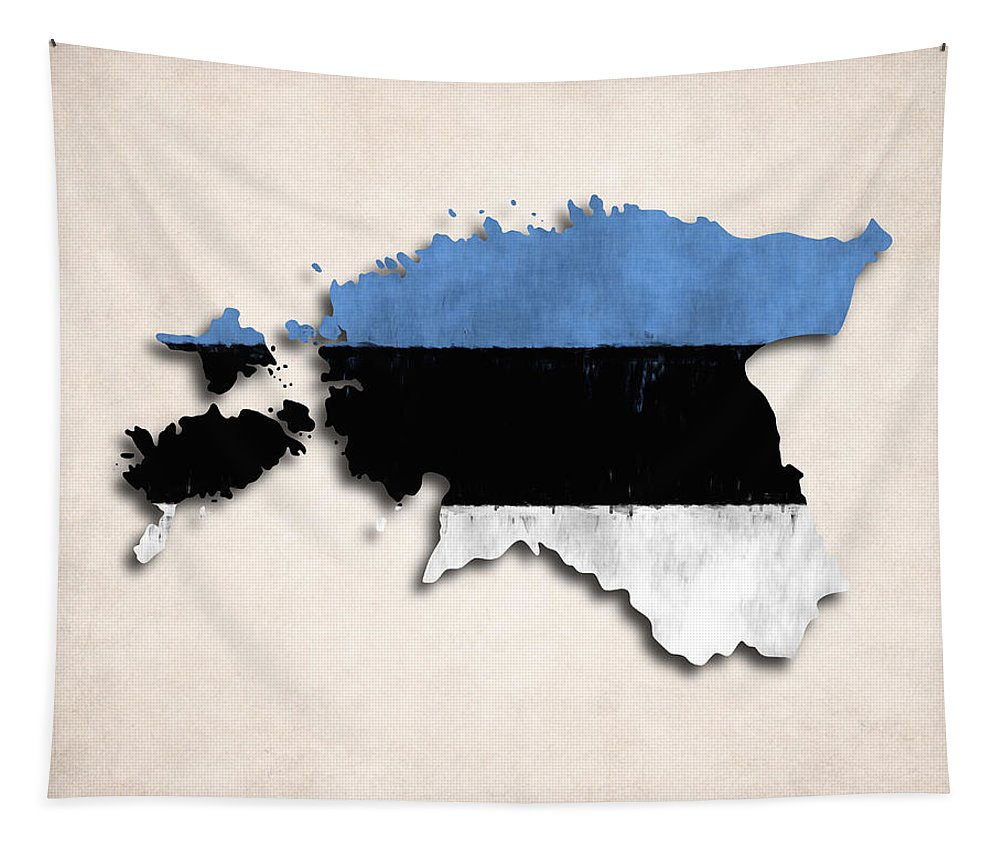 Tapestry featuring the digital art Estonia Map Art With Flag Design by World Art Prints And Designs