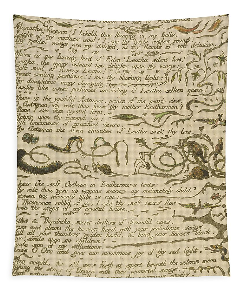 William Blake Tapestry featuring the drawing Ethinthus Queen Of Waters by William Blake