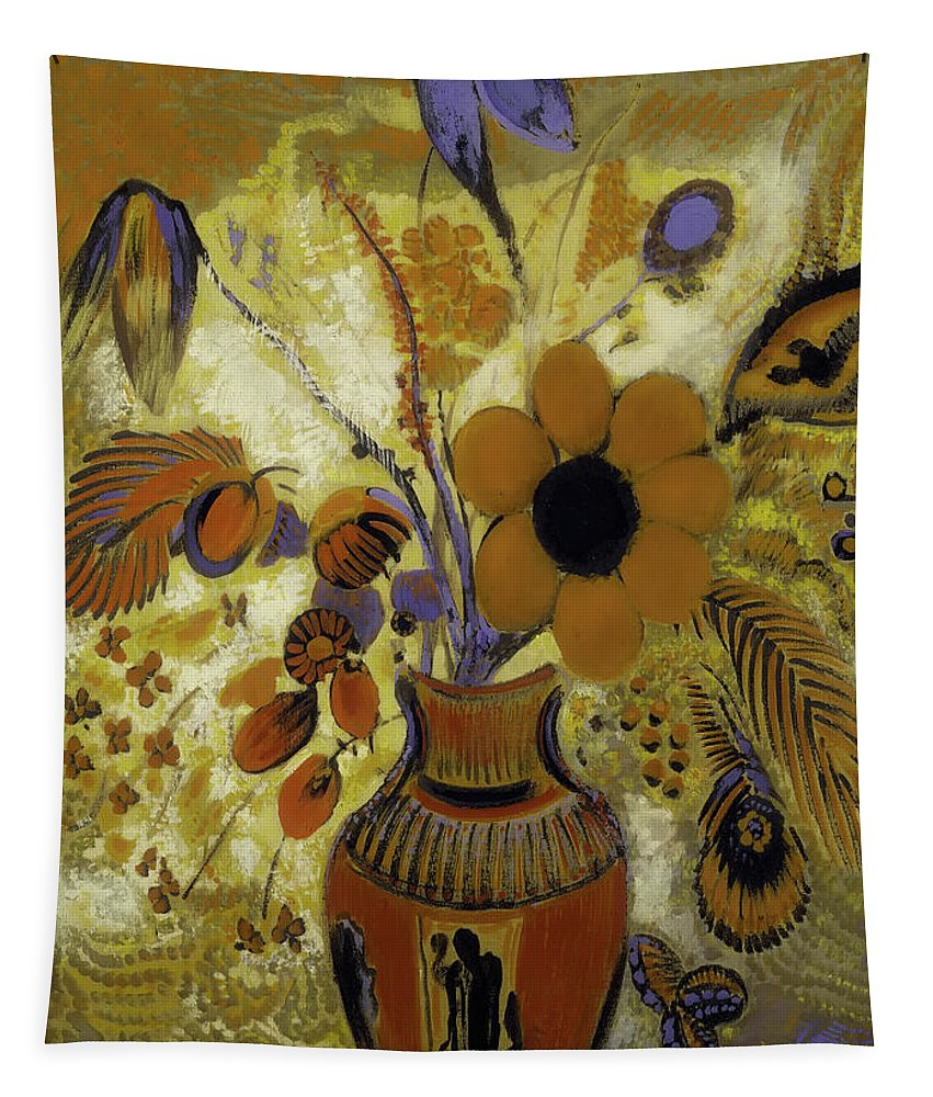 Painting Tapestry featuring the painting Etrusian Vase With Flowers by Mountain Dreams