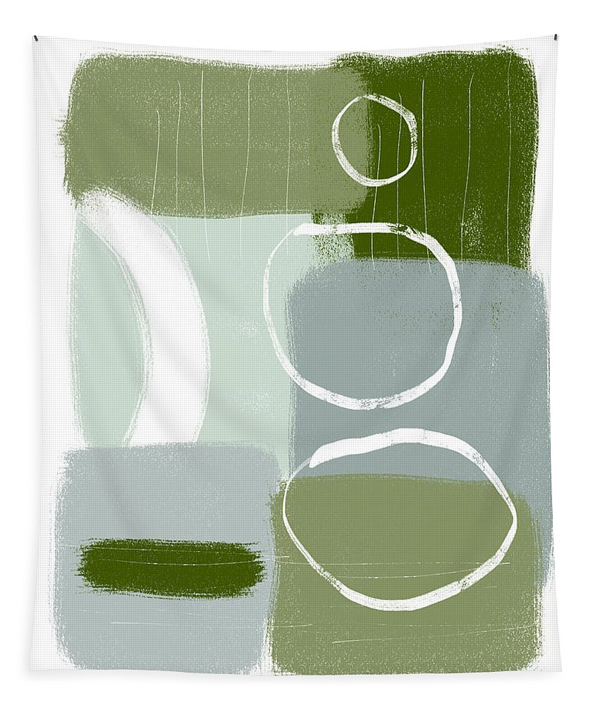 Abstract Tapestry featuring the mixed media Eucalyptus Breeze 2- Art by Linda Woods by Linda Woods