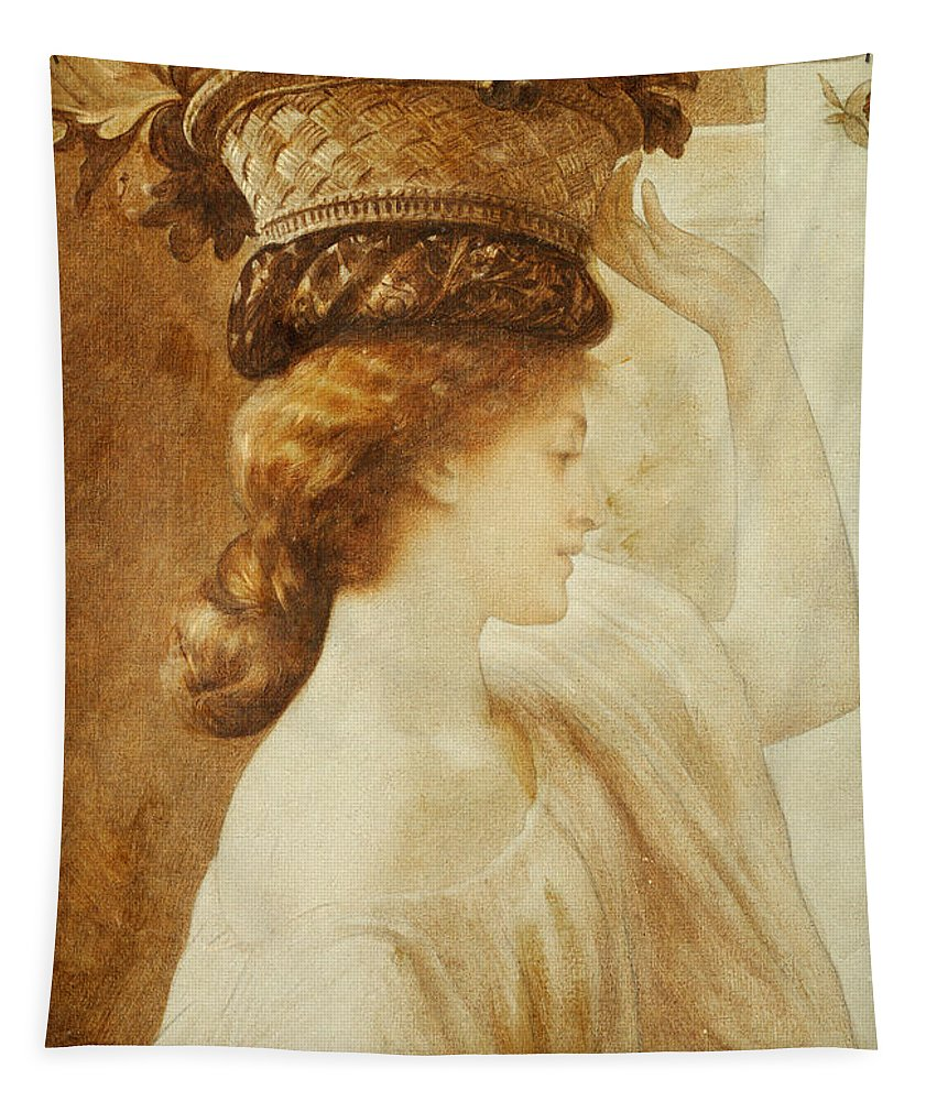 Eucharis Tapestry featuring the painting Eucharis A Girl With A Basket Of Fruit by Frederic Leighton