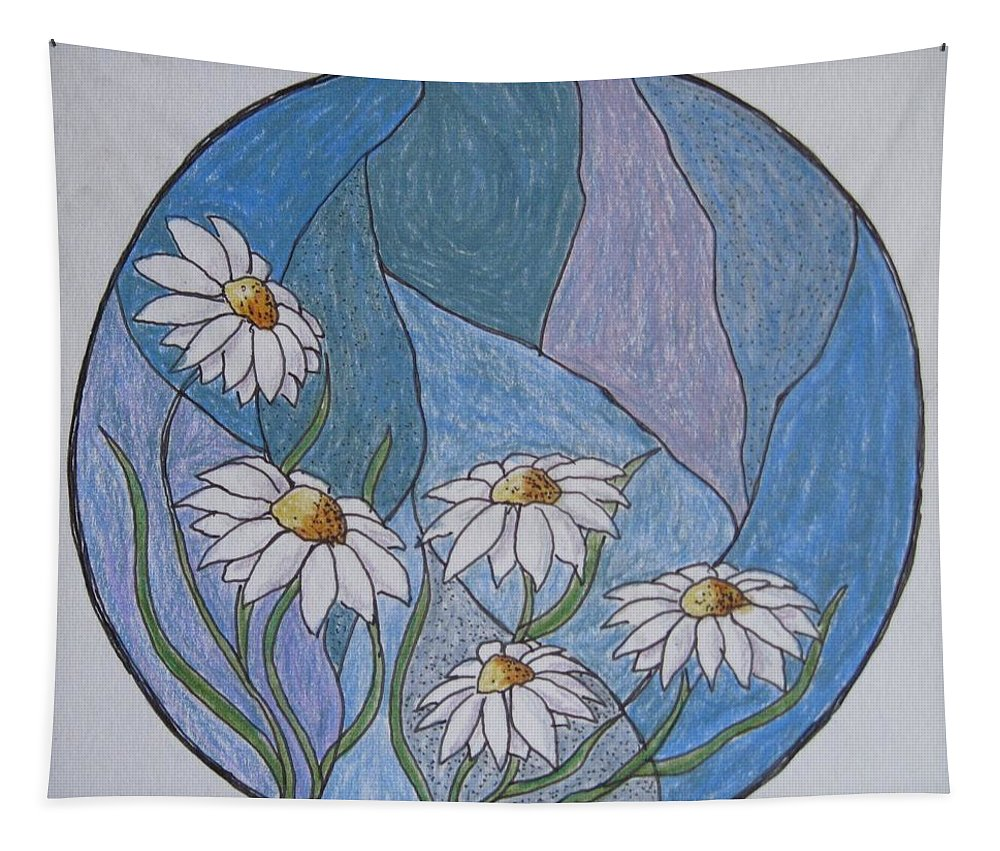 Daisies Tapestry featuring the drawing Even Daisies Get The Blues by Megan Walsh