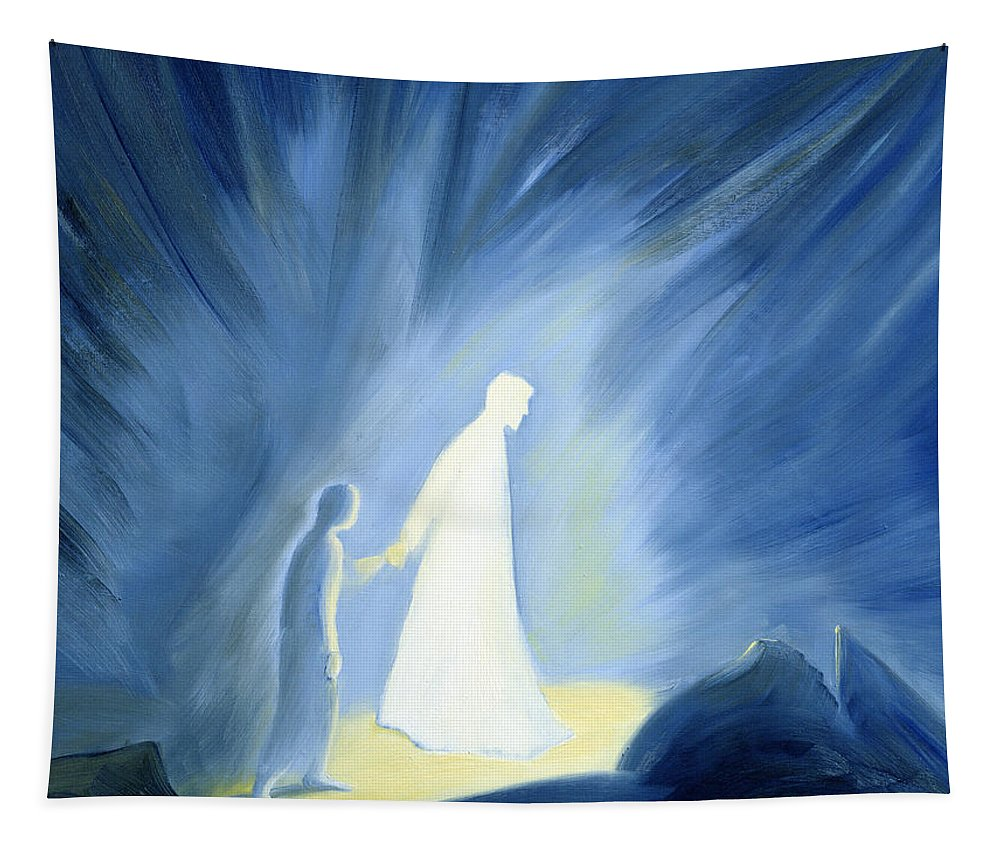 Light; Help; Guidance; Faith; Trust;catholic;catholicism;guiding;helping;aiding; Suffering; Caring; Spiritual; Savior;protector;love;bright;spiritual;religion;religious; Darkness Tapestry featuring the painting Even In The Darkness Of Out Sufferings Jesus Is Close To Us by Elizabeth Wang