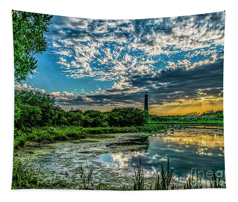 Atantic Coast Tapestry featuring the photograph Evening Approaching Cape May Light by Nick Zelinsky