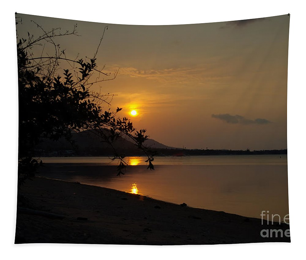 Michelle Meenawong Tapestry featuring the photograph evening at Bophut Bay by Michelle Meenawong