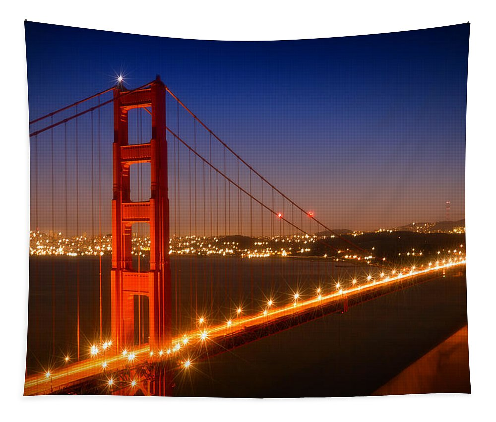 America Tapestry featuring the photograph Evening Cityscape of Golden Gate Bridge by Melanie Viola