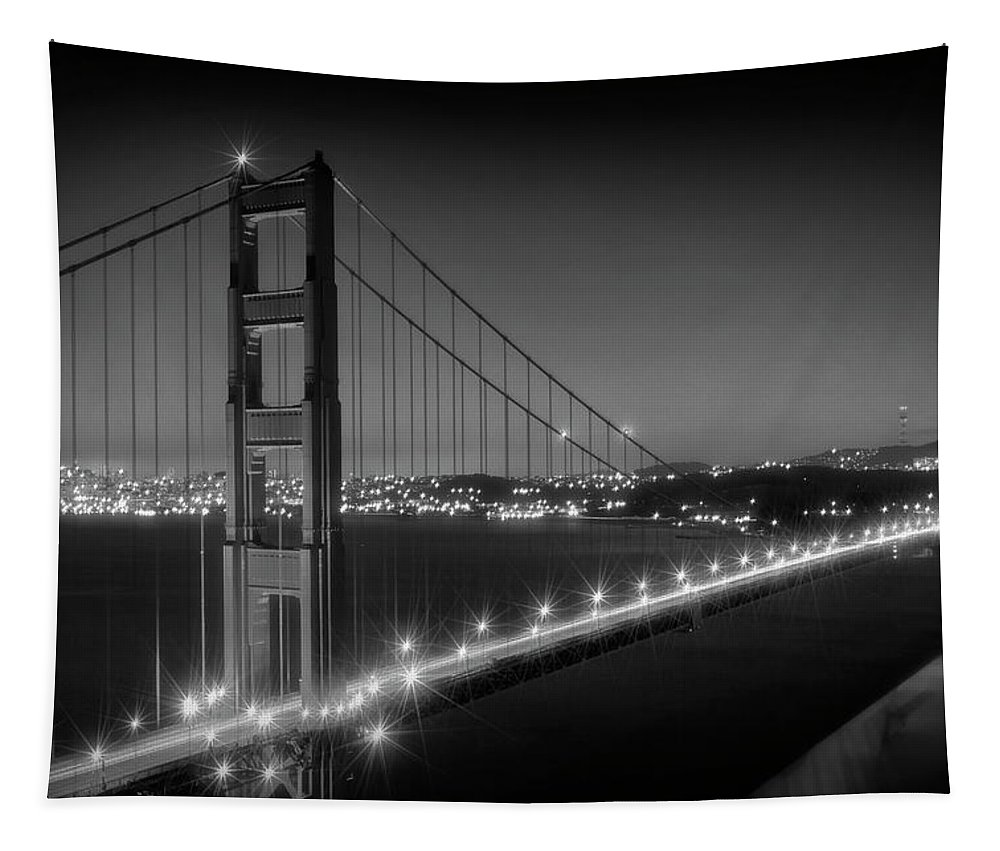 America Tapestry featuring the photograph Evening Cityscape of Golden Gate Bridge Monochrome by Melanie Viola