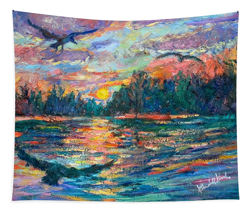 Landscape Tapestry featuring the painting Evening Flight by Kendall Kessler