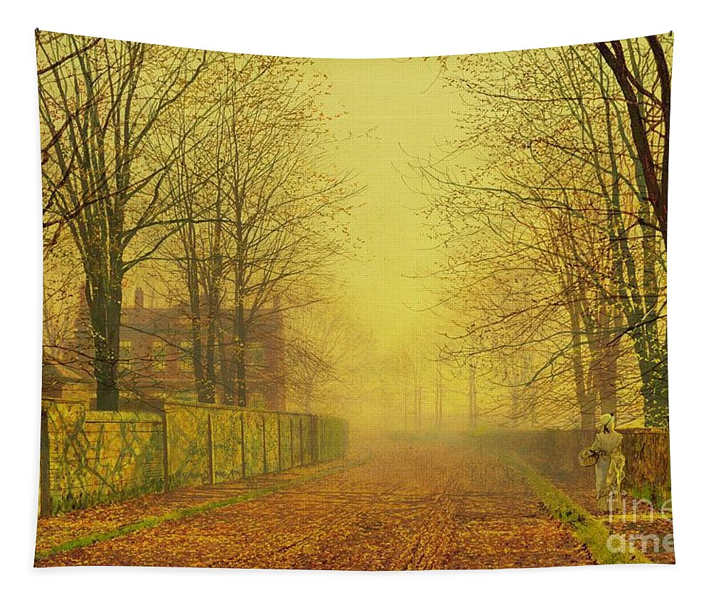 The Fall Tapestry featuring the painting Evening Glow by John Atkinson Grimshaw