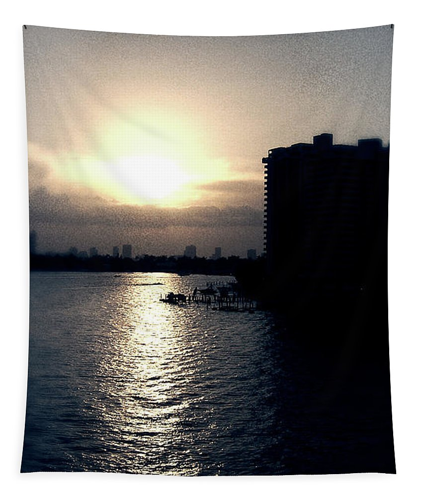 Miami Beach Tapestry featuring the photograph Evening In Miami Beach by Phil Perkins