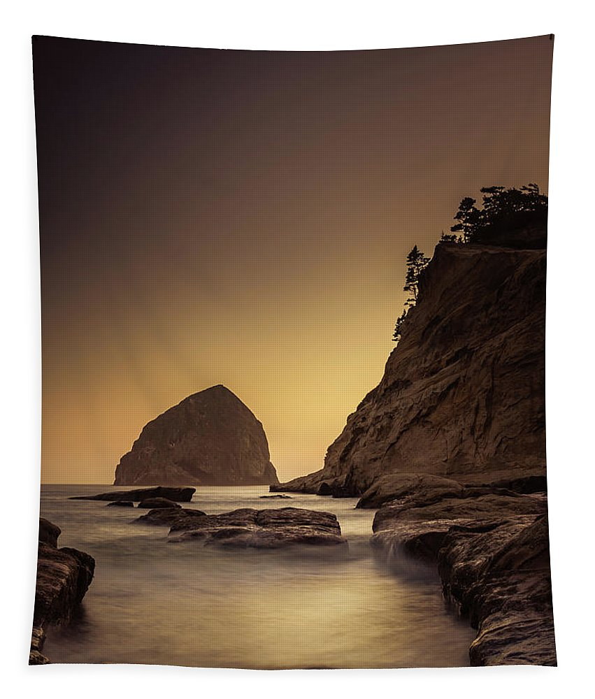 Cape Kiwanda Tapestry featuring the photograph Evening In The Cove by Don Schwartz