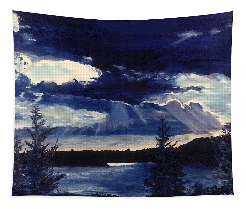 Landscape Tapestry featuring the painting Evening Lake by Steve Karol