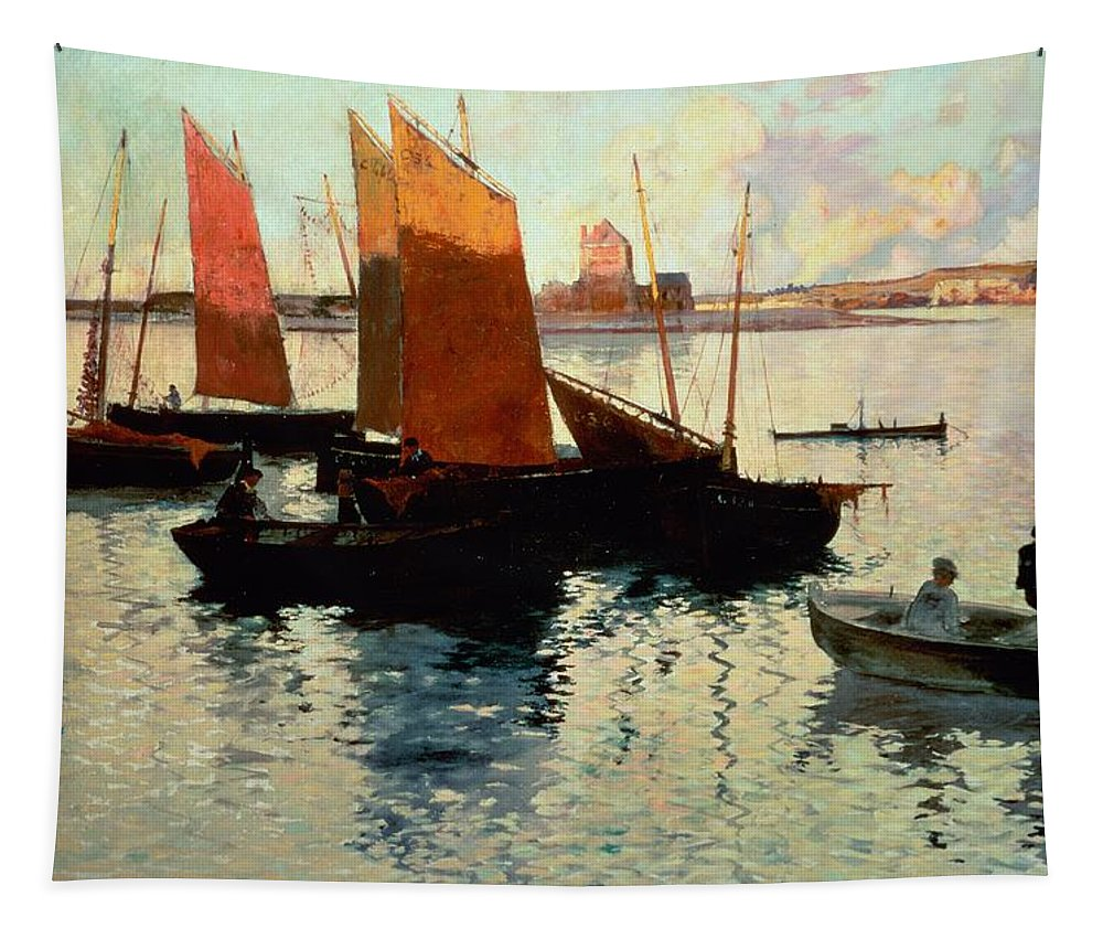 Evening Tapestry featuring the painting Evening Light At The Port Of Camaret by Charles Cottet