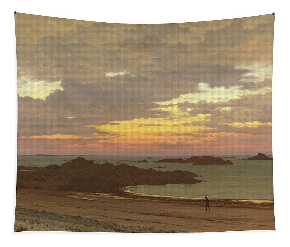 Evening Tapestry featuring the painting Evening On The Coast by Frederick William Meyer