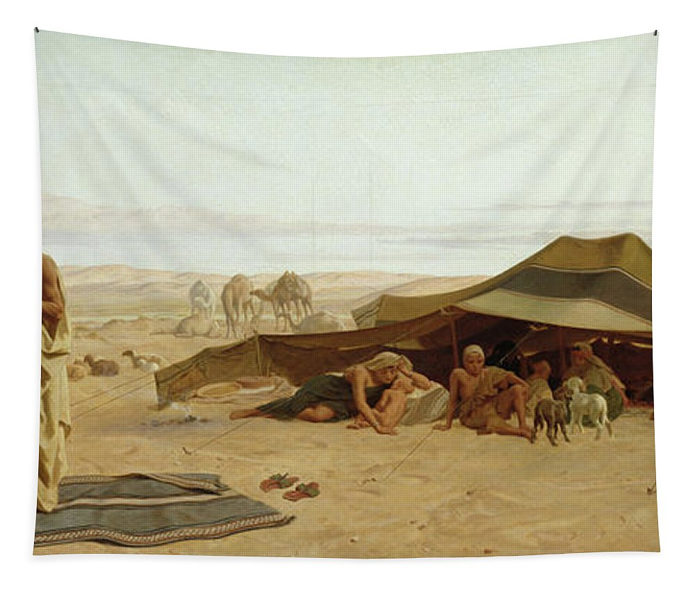 Evening Tapestry featuring the painting Evening Prayer In The West by Frederick Goodall